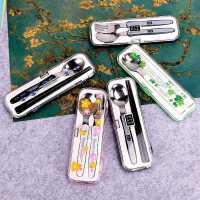 日本进口便携筷子勺子套装学生儿童可爱餐具三件套上班便携餐具盒