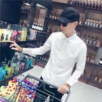 薄款长袖白色衬衫男士修身韩版潮流衬衣男青年正装纯色寸衫工作服2018新品