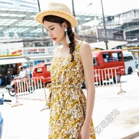 2018夏装波西米亚碎花连衣裙露背海边沙滩裙长裙仙女泰国 黄色