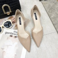 单鞋女2019夏季新款韩版尖头浅口中空高跟鞋细跟中跟时尚女鞋