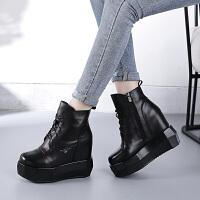 女靴子女牛皮短靴女厚底内增高马丁靴高跟欧美2019秋冬季新款保暖加绒棉靴女潮