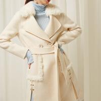 双面呢大衣女中长款高腰显瘦毛领呢子大衣双面绒毛呢外套名媛范