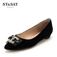 【领券减150】星期六(ST&SAT)专柜同款水钻饰扣方跟尖头时尚单鞋SS81111160