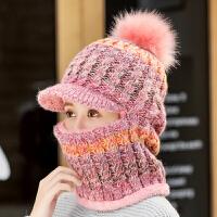 帽子女冬天针织帽保暖甜美可爱毛线帽冬季围脖一体潮