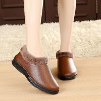 冬季加绒棉鞋女式雪地靴防水保暖防滑软底老北京妈妈棉鞋老人鞋
