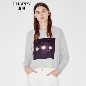 海贝2017秋季新款长袖T恤上衣 圆领贴布印花文艺打底套头衫
