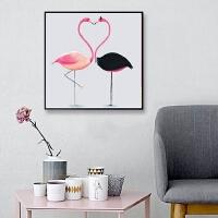 小幅十字绣卧室餐厅画动物钻石画火烈鸟情侣贴砖画贴钻画满钻新款
