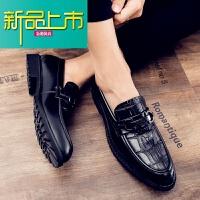 新品上市19新款纹真皮豆豆鞋男英伦型师尖头厚底一脚蹬小皮鞋男潮 黑色 标准皮鞋尺码