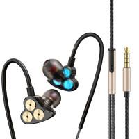 T1六动圈入耳式耳机重低音炮运动挂耳式魔音耳塞六核线控带麦电脑四核双动圈手机通用女生 官方标配