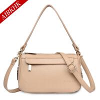 AIBKHK 新款中年女包双层拉链小方包休闲风二层牛皮斜挎包时尚妈妈包