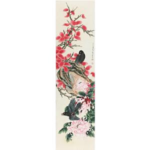 龚文�《花鸟图》著名画家