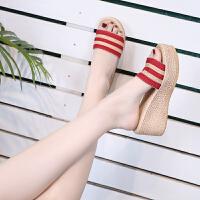 拖鞋女夏外穿韩版高跟厚底松糕一字拖2019时尚坡跟女士凉拖鞋