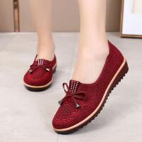 新款妈妈单鞋牛筋底中老年女鞋平底奶奶单鞋老北京布鞋女单鞋 红色 【B-8单鞋】