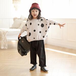 女童韩版百搭波点印花卫衣童装