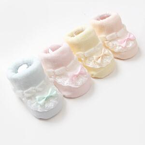 Yinbeler2双装精梳棉0-1岁春秋夏婴儿防滑地板袜松口新生儿粉色系蕾丝蝴蝶结礼盒套装