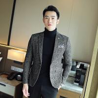 秋冬冬季修身青少年千鸟格韩版致韩风男士长袖常规小西装西服