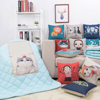 【支持礼品卡支付】卡通棉麻抱枕被子多功能两用办公室抱枕被抱枕被子两用