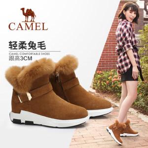Camel/骆驼女鞋 2017秋冬新款 柔软保暖短筒靴 简约扣带靴子
