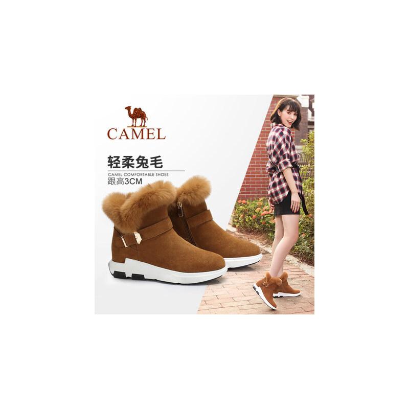 Camel/骆驼女鞋  秋冬新款 柔软保暖短筒靴 简约扣带靴子秋季焕新 全场满59元包邮