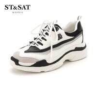 星期六(ST&SAT)2018年专柜同款牛皮革潮流休闲运行鞋SS81112560