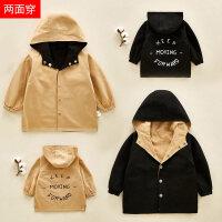 男童秋装小童宝宝风衣外套婴儿大衣中长款春秋夹克两面穿上衣