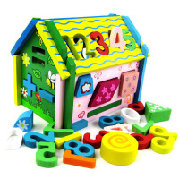 木质拼装玩具儿童排插积木房子数字小屋可拆装积木房