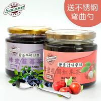 送弯曲勺 Socona蜂蜜桂圆茶500g+蓝莓茶500g韩国风味水果酱冲饮品