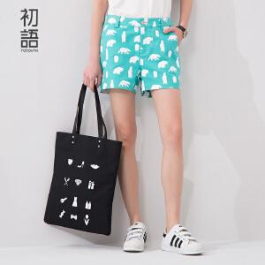 初语夏季新款 卡通印花宽松短裤女8622302033