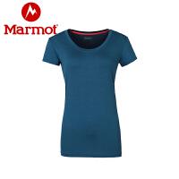 Marmot/土拨鼠运动户外女士速干T恤超轻透气排汗运动短袖