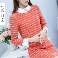 一米阳光2017早春新款韩版气质上衣裙子两件套小香风套装裙