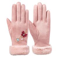 麂皮绒触屏手套女冬季保暖加厚加绒韩版可爱学生防寒秋冬骑行手套