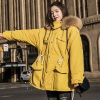 大毛领工装棉衣女冬季2018新款韩版中长款chic收腰加厚棉袄潮 黄色 S