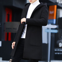 2018新款秋冬季外套男加绒加厚呢子大衣男士中长款风衣韩版修身帅 黑色 M