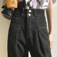 秋装2019年高腰牛仔裤女直筒显瘦秋冬宽松黑色加绒长裤潮