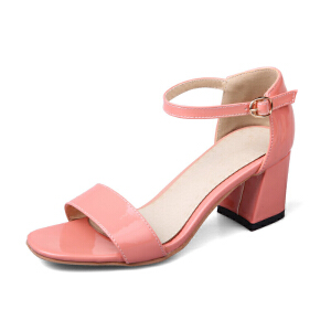 O'SHELL欧希尔夏季上新009-M-11韩版漆皮粗跟高跟女士凉鞋