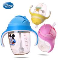 迪士尼儿童喝水杯带吸管杯小孩可爱卡通塑料耐摔夏季运动水壶