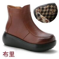 头层牛皮厚底女鞋春秋圆头防水台软底马丁靴加绒保暖坡跟女装单鞋