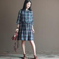 原创春装新款文艺复古森女格子宽松大码纯棉连衣裙长裙显瘦GH073 绿色格子
