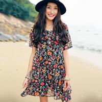 裂帛夏季新款连衣裙 圆领短袖气质时尚女装显瘦印花A字雪纺短裙