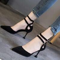 大东同款2019春夏季新款一字扣猫跟鞋女细跟单鞋中跟韩版百搭黑色高跟鞋子 黑色 6厘米