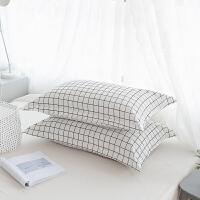 枕套纯棉枕头套枕袋枕皮全棉枕芯套子一对装纯棉枕套 48cmX74cm