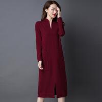 中长款羊毛针织连衣裙秋冬款立领套头毛衣裙女过膝长裙开叉打底裙