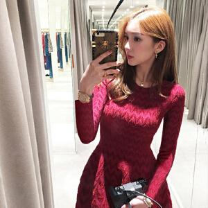 卡茗语秋冬季长袖红色连衣裙显瘦高腰蓬蓬裙a字裙针织内搭打底裙小红裙