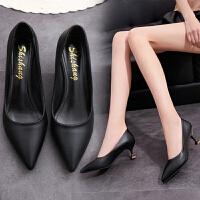 新款职业高跟鞋中跟春秋百搭5cm尖头浅口细跟猫跟鞋韩版时尚单鞋