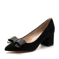 D:Fuse/迪芙斯羊反绒尖头粗高跟单鞋女鞋DF71111175