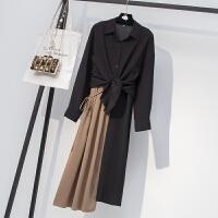 大码女装微胖妹妹秋装套装显瘦减龄胖mm爱新款洋气连衣裙两件套 黑色 如图套装