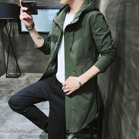 风衣男士2018新款春秋季韩版潮流帅气中长款夹克修身连帽外套潮牌 军绿色 款一