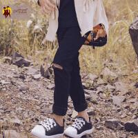 儿童牛仔裤女春秋新款2017韩版薄款宝宝秋装长裤女童时尚破洞裤子