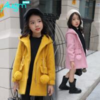 奥戈曼   女童毛呢外套秋冬季韩版儿童中大童女孩中长款时尚亲子装修身呢子大衣潮