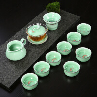10头青瓷小鲤鱼杯整套陶瓷耐热玻璃三才盖碗功夫茶具套装7jc